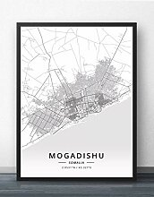Leinwand Bild,Mogadischu Somalia Stadt Karte