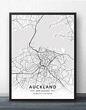 Leinwand Bild,Neuseeland Auckland Stadtplan