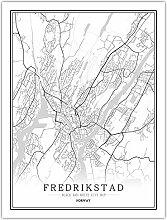 Leinwand Bild,Norwegen Fredrikstad Stadt Karte