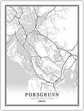 Leinwand Bild,Norwegen Porsgrunn Stadt Karte