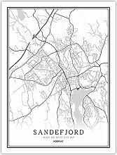 Leinwand Bild,Norwegen Sandefjord Stadtkarte