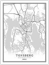 Leinwand Bild,Norwegen Tonsberg Stadtplan Einfache