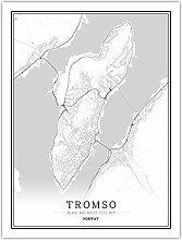 Leinwand Bild,Norwegen Tromso Stadtplan Einfache