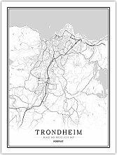 Leinwand Bild,Norwegen Trondheim Stadtplan