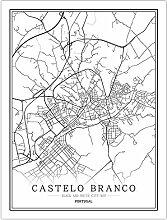 Leinwand Bild,Portugal Castelo Branco Stadtplan