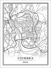 Leinwand Bild,Portugal Coimbra Stadtplan Einfache
