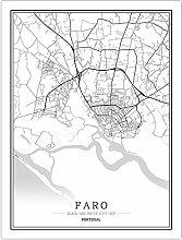 Leinwand Bild,Portugal Faro Stadtkarte Einfache