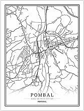 Leinwand Bild,Portugal Pombal Stadtkarte Einfache