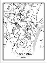 Leinwand Bild,Portugal Santarem Stadtplan Einfache