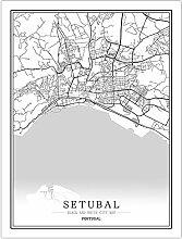 Leinwand Bild,Portugal Setubal Stadtkarte Einfache