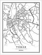 Leinwand Bild,Portugal Tomar Stadtplan Einfache