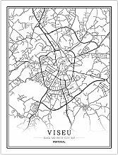 Leinwand Bild,Portugal Viseu Stadtplan Einfache