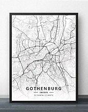 Leinwand Bild,Schweden Göteborg Stadtplan