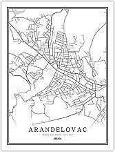 Leinwand Bild,Serbien Arandelovac Stadtplan