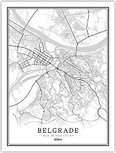 Leinwand Bild,Serbien Belgrad Stadt Karte