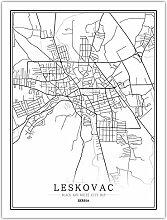 Leinwand Bild,Serbien Leskovac Stadtplan