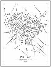 Leinwand Bild,Serbien Vrsac Stadtkarte