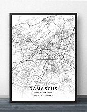 Leinwand Bild,Syrien Damaskus Stadtplan Einfache