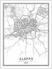 Leinwand Bild,Syrische Aleppo Stadtplan Wall Art