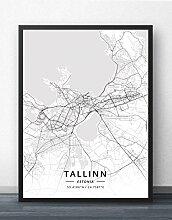 Leinwand Bild,Tallinn Estland Stadt Karte
