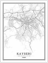 Leinwand Bild,Türkei Kayseri Stadtplan Wall Art