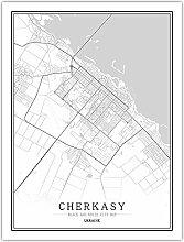 Leinwand Bild,Ukraine Cherkasy Stadt Karte Einfach