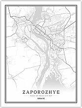 Leinwand Bild,Ukraine Saporoschje Stadt Karte