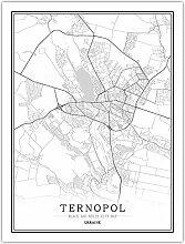 Leinwand Bild,Ukraine Ternopol Stadtplan Einfache
