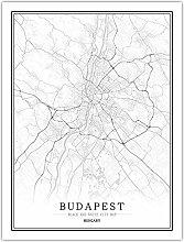 Leinwand Bild,Ungarn Budapest Stadtkarte Einfache