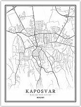 Leinwand Bild,Ungarn Kaposvar Stadtplan Einfache