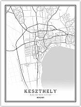 Leinwand Bild,Ungarn Keszthely Stadtplan Einfache