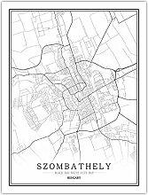 Leinwand Bild,Ungarn Szombathely Stadtkarte