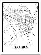 Leinwand Bild,Ungarn Veszprem Stadtplan Einfache