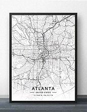 Leinwand Bild,Vereinigte Staaten Atlanta Stadtplan
