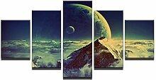 Leinwand HD-Druck 5 Stück Meere der Wolken Moon