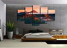 Leinwand HD-Druck 5 Stück The Red Mount Peaks