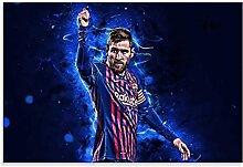 Leinwand Malerei Bild Fußballspieler Lionel Messi
