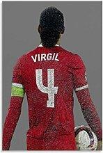 Leinwand Malerei Bild Fußballspieler Virgil Van