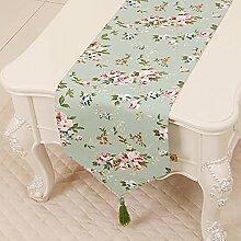 Leinwand Tischläufer Tischdecke Tee Tischdecke für Wohnzimmer Bett Läufer für Schlafzimmer Schrankabdeckung Handtuch Tischset Lange Tischdecke (Farbe : StyleD, größe : 33*200cm)