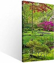 Leinwandbild 1 Tlg Japanischer Garten zen grün Leinwand Bild Bilder Holz gerahmt 9U690, 1 Tlg BxH:40x80cm