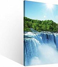 Leinwandbild 1 Tlg Niagara Wasserfälle Natur Wasserfall Leinwand Bild Bilder Holz gerahmt 9U771, 1 Tlg BxH:30x60cm