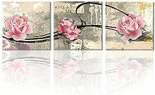 Leinwandbild, 3 Paneele, Motiv: drei rosa Rosen,