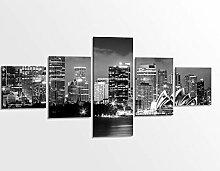 Leinwandbild 5 tlg. 200x100cm schwarz weiß