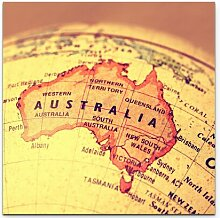 LeinwandbildAustralien auf einem Globus East