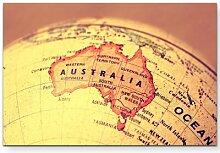 LeinwandbildAustralien auf einem Globus