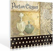 Leinwandbild Avery Tillmon - Parfum Elegant II - 150 x 120cm - Premiumqualität - Parfum, Flacon, Eleganz, Nostalgie, Kalligrafie, Werbung, Badezimmer, Bad, O.. - MADE IN GERMANY - ART-GALERIE-SHOPde