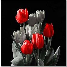 Leinwandbild Blumenstrauß aus roten Tulpen
