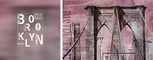 Leinwandbild Brooklyn (Set) 100x40 cm bunt