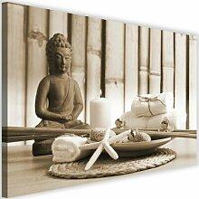 Leinwandbild Buddha mit Kerze 4