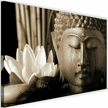 Leinwandbild Buddha mit Lilie